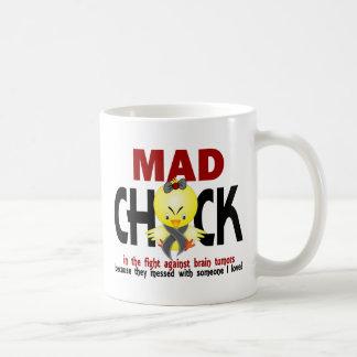 Polluelo enojado en el tumor cerebral de la lucha tazas de café