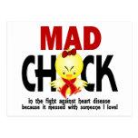 Polluelo enojado en la enfermedad cardíaca de la l tarjetas postales