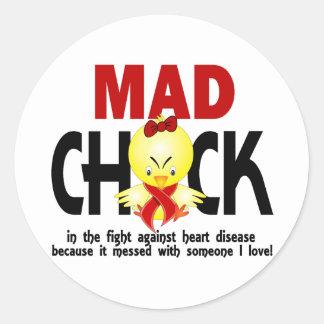 Polluelo enojado en la enfermedad cardíaca de la pegatina redonda