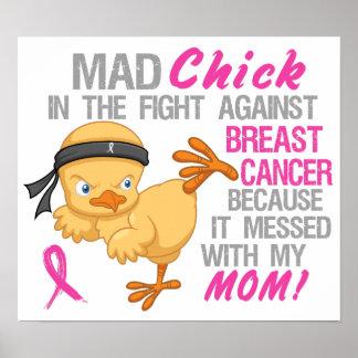 Polluelo enojado ensuciado con el cáncer de pecho impresiones