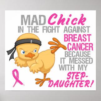 Polluelo enojado ensuciado con el cáncer de pecho posters