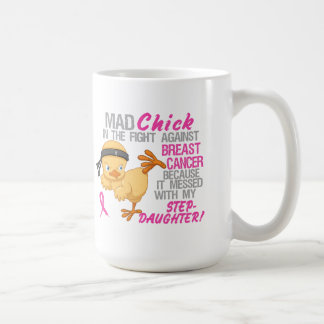 Polluelo enojado ensuciado con el cáncer de pecho taza de café