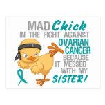 Polluelo enojado ensuciado con el cáncer ovárico d postal