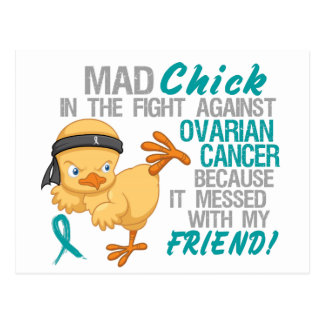 Polluelo enojado ensuciado con el cáncer ovárico d tarjetas postales