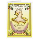 Polluelo feliz de Pascua con el huevo, para los ab