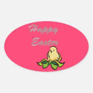 Polluelo feliz de Pascua Pegatinas De Oval
