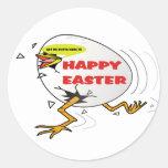 Polluelo feliz de Pascua Pegatina Redonda