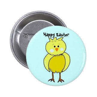 Polluelo feliz de Pascua Pin Redondo De 2 Pulgadas