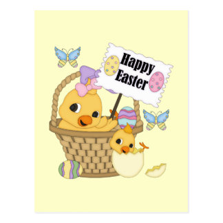 Polluelo feliz de Pascua Tarjeta Postal