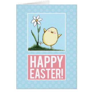Polluelo feliz de Pascua - tarjetas de Personaliza