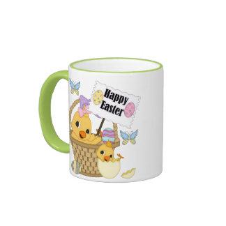 Polluelo feliz de Pascua Tazas De Café