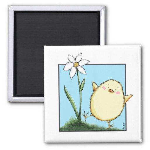 Polluelo feliz y flor blanca - imanes de Pascua Imanes Para Frigoríficos