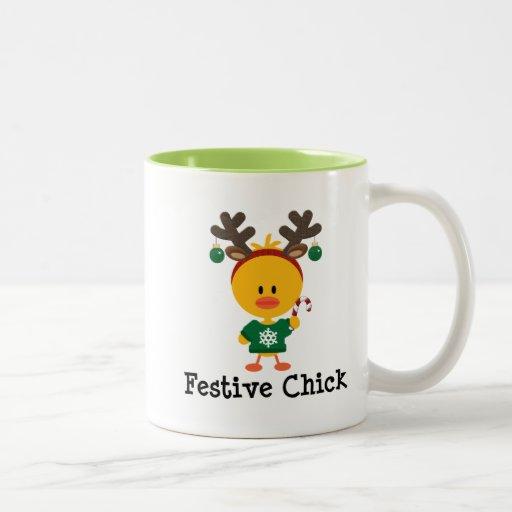 Polluelo festivo taza de café