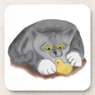 Polluelo gris del gatito y de la melcocha de posavasos