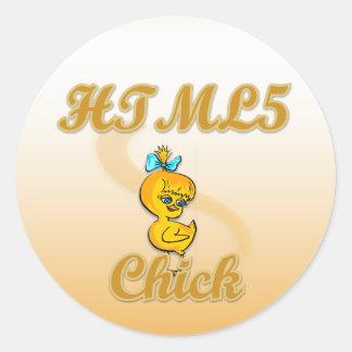 Polluelo HTML5 Pegatina Redonda