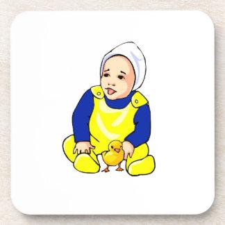 polluelo humano sleeves.png azul del bebé posavasos de bebida