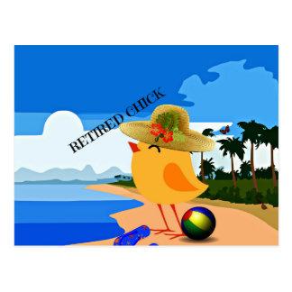 Polluelo jubilado - humor postales
