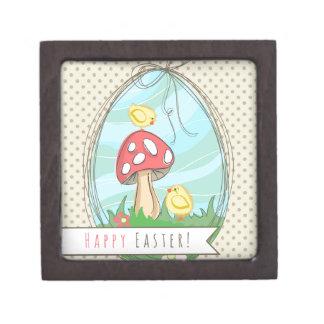 Polluelo lindo de Pascua con la seta Pascua feliz Cajas De Joyas De Calidad