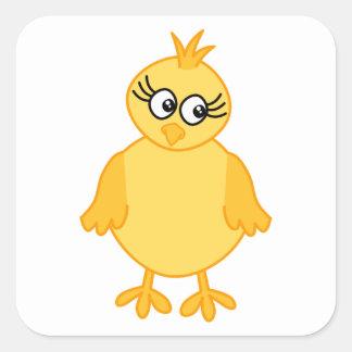 Polluelo lindo, pájaro de bebé amarillo pegatina cuadrada