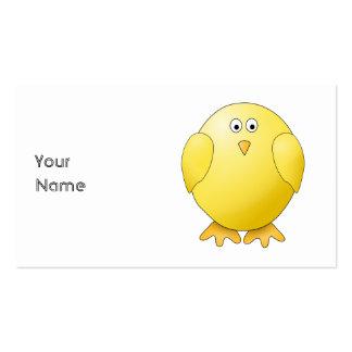 Polluelo lindo. Pequeño pájaro amarillo Tarjetas De Negocios