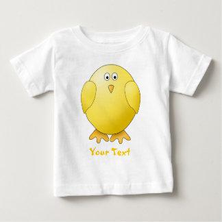 Polluelo lindo. Pequeño pájaro amarillo. Texto de Playeras