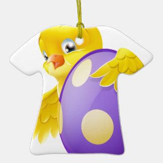 Polluelo lindo y huevo de Pascua pintado del Adorno De Cerámica En Forma De Playera