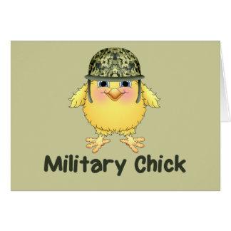 Polluelo militar tarjeta de felicitación