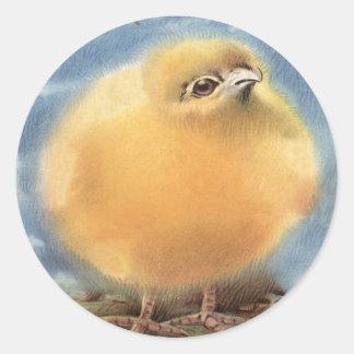 Polluelo mullido de Pascua del Puffball Pegatina Redonda