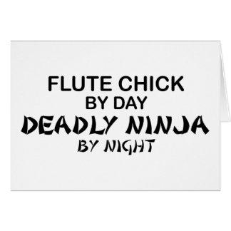 Polluelo Ninja mortal de la flauta por noche Tarjeta De Felicitación