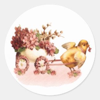 Polluelo Pascua del vintage Etiquetas Redondas