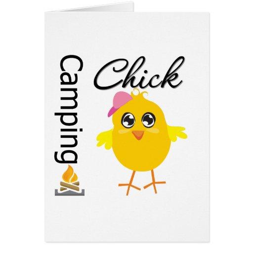 Polluelo que acampa tarjeta de felicitación