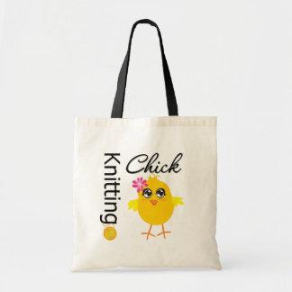 Polluelo que hace punto bolsa tela barata
