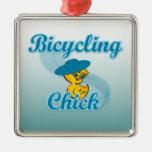 Polluelo que monta en bicicleta #3 ornamentos de navidad