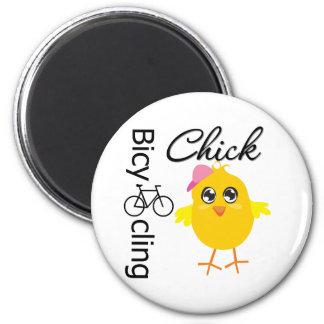 Polluelo que monta en bicicleta imán redondo 5 cm