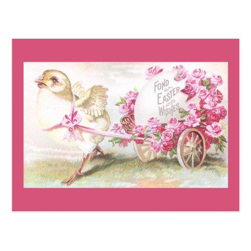 Polluelo que tira del carro de rosas y del vintage postales