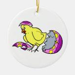 polluelo que trama el huevo amarillo púrpura ornaments para arbol de navidad