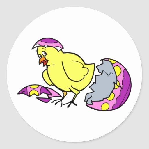 polluelo que trama el huevo amarillo púrpura etiquetas