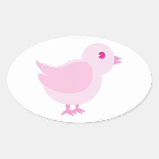 Polluelo rosado pegatina ovalada