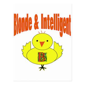 Polluelo rubio y inteligente postal