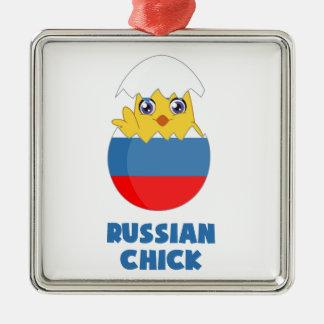 Polluelo ruso, chica de Rusia Adorno Navideño Cuadrado De Metal