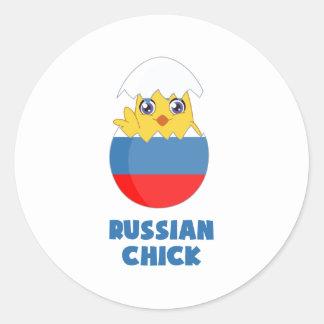 Polluelo ruso, chica de Rusia Pegatina Redonda