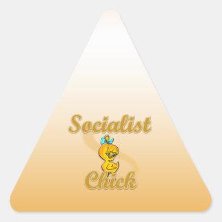 Polluelo socialista calcomanías trianguladas personalizadas