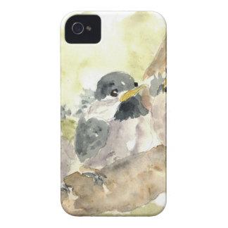 Polluelo-uno-Dees tres nuevo - lápiz de la acuarel iPhone 4 Cárcasas