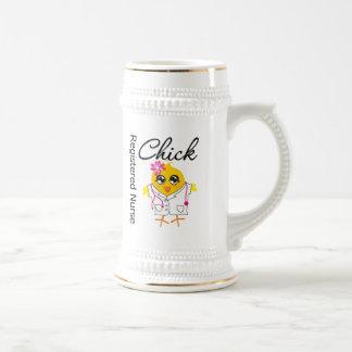Polluelo v2 de la enfermera registradoa tazas de café