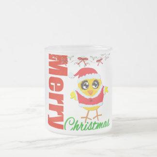 Polluelo v2 de Santa de las Felices Navidad Taza Cristal Mate