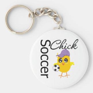 Polluelo v2 del fútbol llaveros personalizados