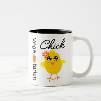 Polluelo vegetariano tazas de café