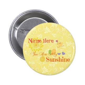 Polluelo y huevos de Pascua amarillos soleados Pins