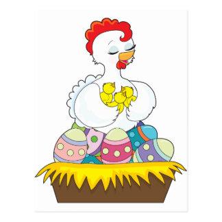 Polluelo y huevos postales