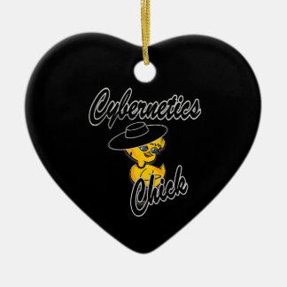 Polluelos #4 de la cibernética adorno de cerámica en forma de corazón
